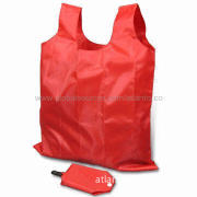 Polyester Shopping Bags, Made of 210D Polyester, Foldable