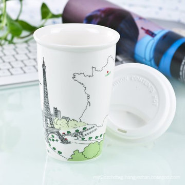 Double Wall Porcelain Travel Mug with Silicone Lid (LFR1510)