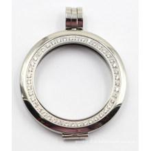 Fabricante diretamente alta qualidade 316L medalhão de aço inoxidável com pedras de configuração Prong