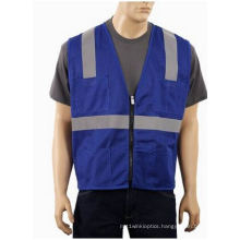 High Visibility Vest with Zipper Made of Mesh Fabric