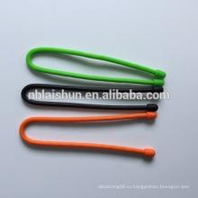 Силиконовая гайка для кабеля для галстука с многоразовым резиновым шнуром для цветов радуги