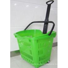 Compre una cesta de mano rodante de plástico con dos ruedas