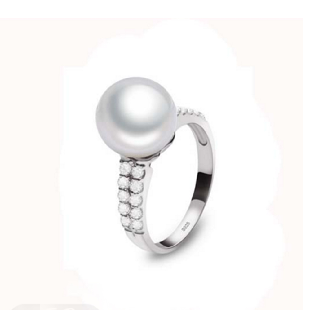 925 Sliver Pearl Engagement Ring