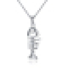 Women′s Fashion Fish Bone Shaped Sterling Silver Pendant Necklace with Chain