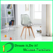 Transpaent seat tulip style wood legs popular chair