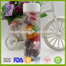 Transparente novo estilo cilindro plástico PET frascos de boca larga para embalagem de doces