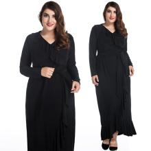 Mode robe de dame noire longue jupe volante style XL à 8 XL plus robes de taille