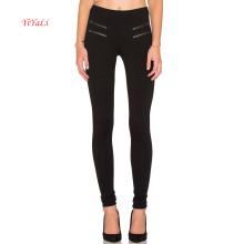 Poliéster Calças Double Zipper Design Legging