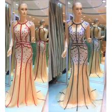 Guangzhou 2017 único diseño especial bordado de rayas espumosos de los granos de sirena vestidos de noche