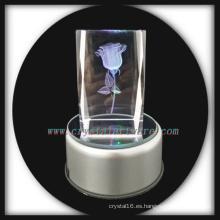 3D laser grabado cristal rosa con música gira llevó la Base