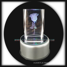 3D laser gravura Crystal Rose com música gira levou Base