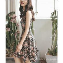 Sommer Floral bedruckt ärmelloses dünnes Mädchen Kleid