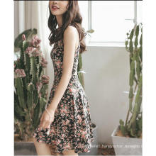 Summer Floral Printed Sleeveless Slim Girl′s Dress