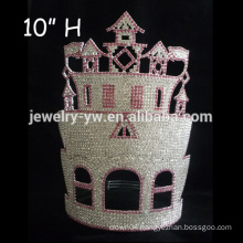 Fashion Rhinestone Big CASTLE pageant crown tall pageant crown tiara