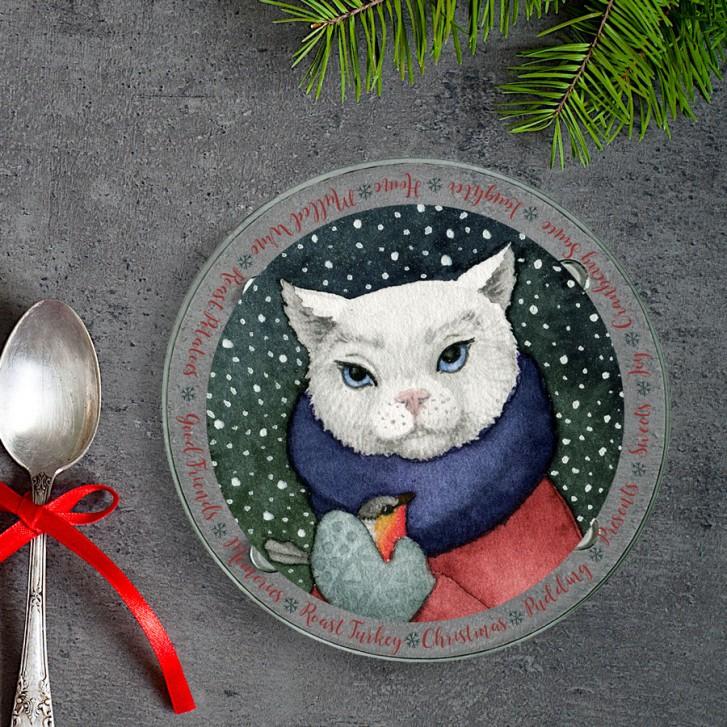 winter-cat-round-glass-coaster