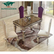 New Design Stainless Steel Hotel Banquet Wedding Dining Table with Marble
