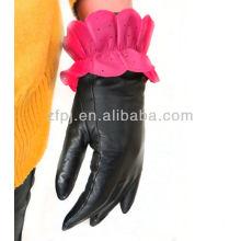 Nuevo estilo de cuero de loto en forma de guantes de invierno