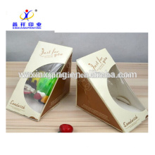 China food grade take away pyramid shaped with clear window sandwich paper boxes in paper cups