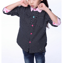 Girls' fashion dot printed pink contrast collar shirt