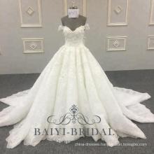 Latest Design Bling Bling Wedding Dress Ball Gown Off Shoulder Design Bridal Gown 2018