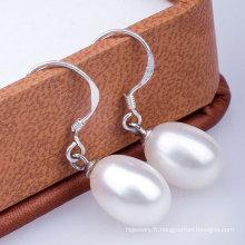 Boucle d'oreille en perle d'eau douce en perle d'argent 925