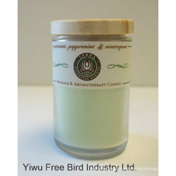 Frosted Glass Candle Jar with Wooden Lids