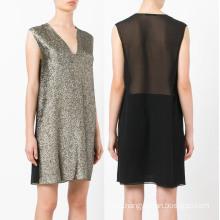 Gold Sleeveless V Neck Women Dress