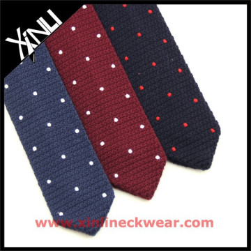 Wool Knit Triangle Tie with Embroidery Knit Dot Tie