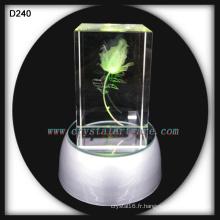K9 3D Laser Gravé Cristal Rose avec Base LED