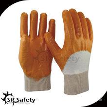 SRSAFETY Best interlock liner 3/4 orange nitrile gloves/nitrile industry gloves