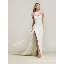 Side Slit Applique Chiffon Beach Evening Wedding Dress for Bridal