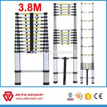 escalera de aluminio telescópica, 3,8 m tangga telescópica, escalera plegable rápida