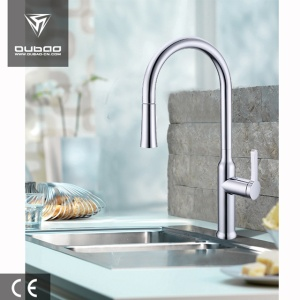 Deck Mounted Polished Chrome Pull-Down Kitchen Mixer Tap