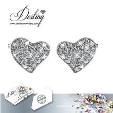 Brincos de coração destino joias cristais de Swarovski piscando