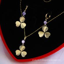 Ensemble de bijoux en pierre 14k plaqué or Lucky Clover CZ (60743)