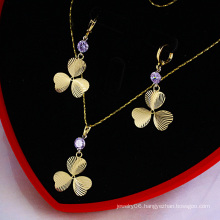 14k Gold Plated Lucky Clover CZ Stone Jewelry Set (60743)