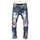 Mens Graffiti Straight  Hip Hop Tattered Jeans