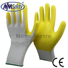 NMSAFETY amarelo barato segurança luvas de trabalho nitrilo com Amostra livre