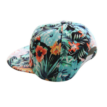 6 Panel Floral Printing Snapback Hats Custom Patch Hawaii Flat bill Cap