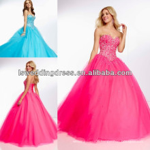HE2026 Hot sell sweetheart neck peacock strapless sleeveless tiered tulle ball gown full length heavy beaded evening dresses