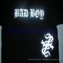 Smal MOQ T-Shirt reflektierende Hitze Presse Logo Aufkleber