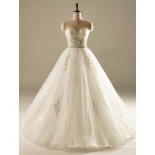 Schatz Perle Eine Linie Sequin Tüll Brautkleid