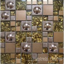 Mosaico de vidrio Mosaico de pared, Mosaico de acero inoxidable de metal (SM210)