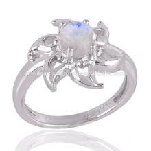 Bright Rainbow Moonstone 925 Sterling Silver with Flower Design Ring