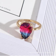 Fashion Teardrop Faceted Rainbow Colorful Glass Gold Ladies Finger Artificial Gems Ring Jewelry