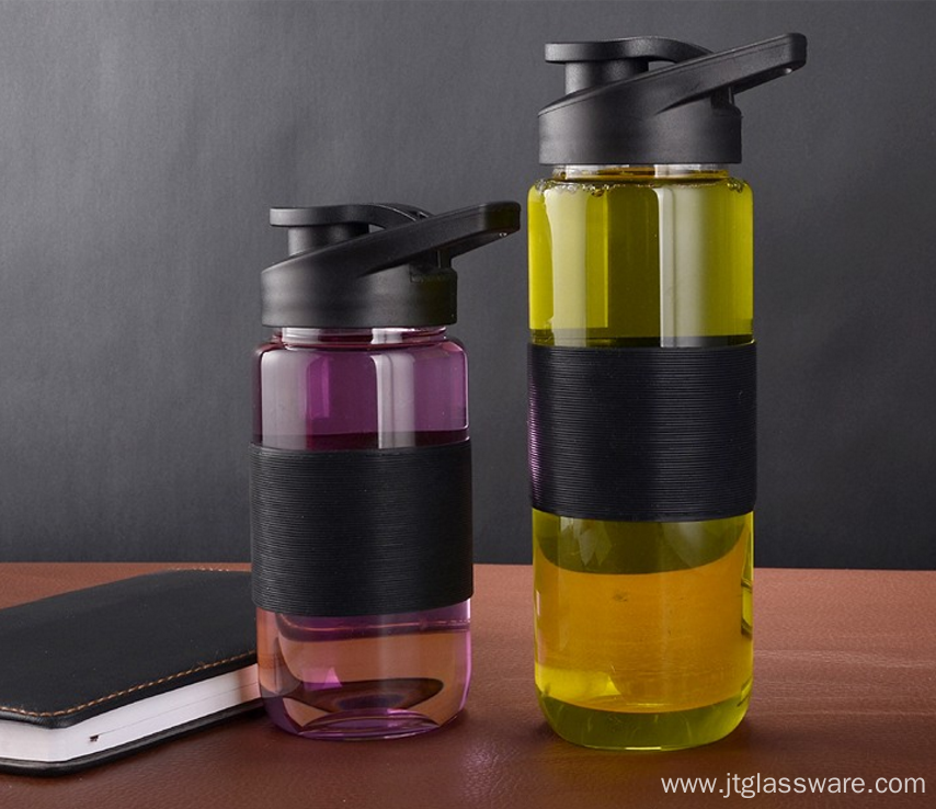 Custom Glass Water Bottle Design With Black Cap