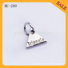 MC280 Neuer kundenspezifischer gravierter Firmenzeichencharme-Anhänger Metallschlüssel-Umbaucharme für Schmucksachen
