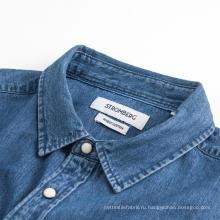 Модная мужская синяя удобная джинсовая рубашка с длинным рукавом