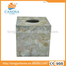 Natürliche Handwerk Süßwasser Shell Tissue Box für Star Hotels