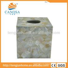 Caixa de tecido natural de Shell de água doce do ofício para hotéis da estrela